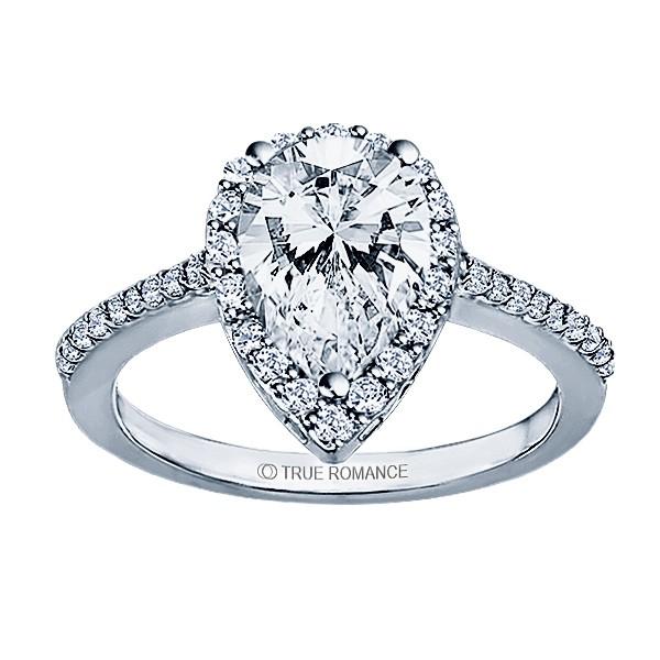 Pear Shape Halo Semi Mount Engagement Ring