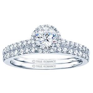 Rm1408-14k White Gold Round Cut Halo Diamond Engagement Ring