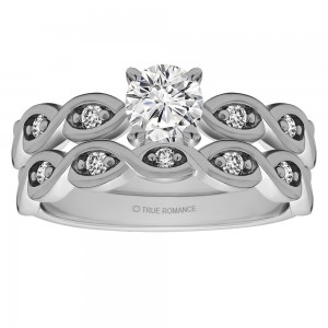 Rm1439 -14k White Gold Round Cut Diamond Infinity Engagement Ring