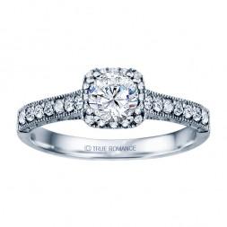 Rm1457 -14k White Round Cut Cushion Halo Diamond Vintage Engagement Ring
