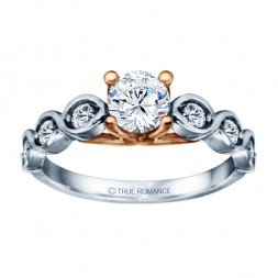 White Gold Round Cut Diamond Infinity Semi Mount Engagement Ring