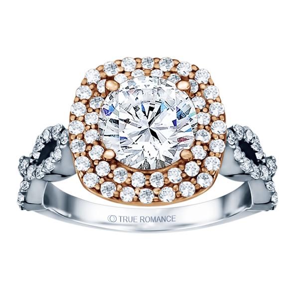 Round Cut Double Halo Diamond Infinity Semi Mount Engagement Ring