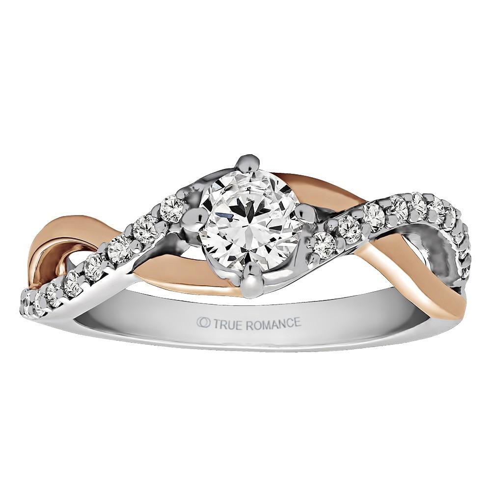 Round Cut Halo Diamond Infinity Semi Mount Engagement Ring