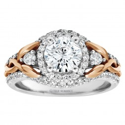 Round Diamond Halo Diamond Semi Mount Engagement Ring
