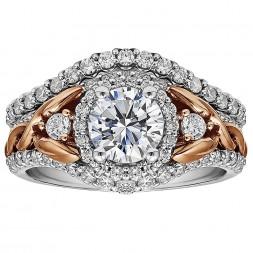 Round Diamond Halo Diamond Semi Mount Engagement Ring