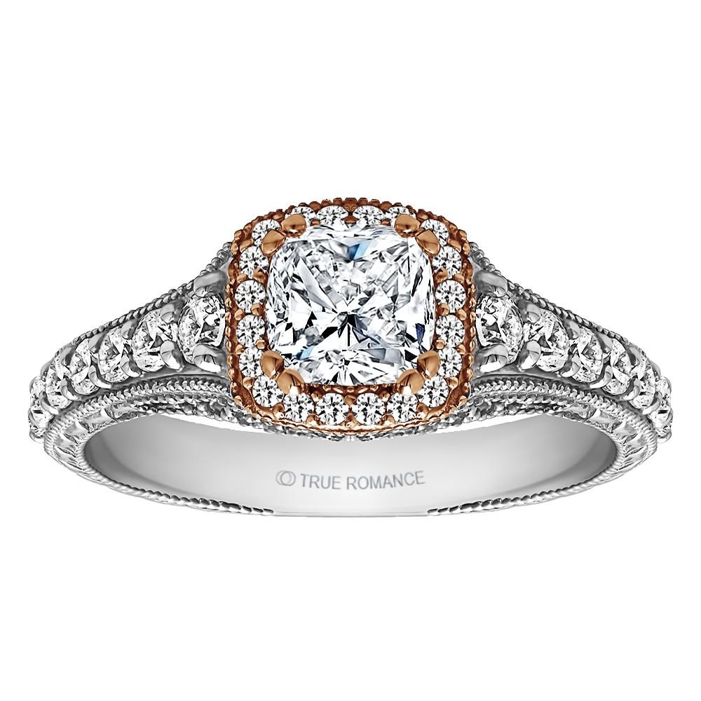 Cushion Cut Halo Diamond Vintage Semi Mount Engagement Ring