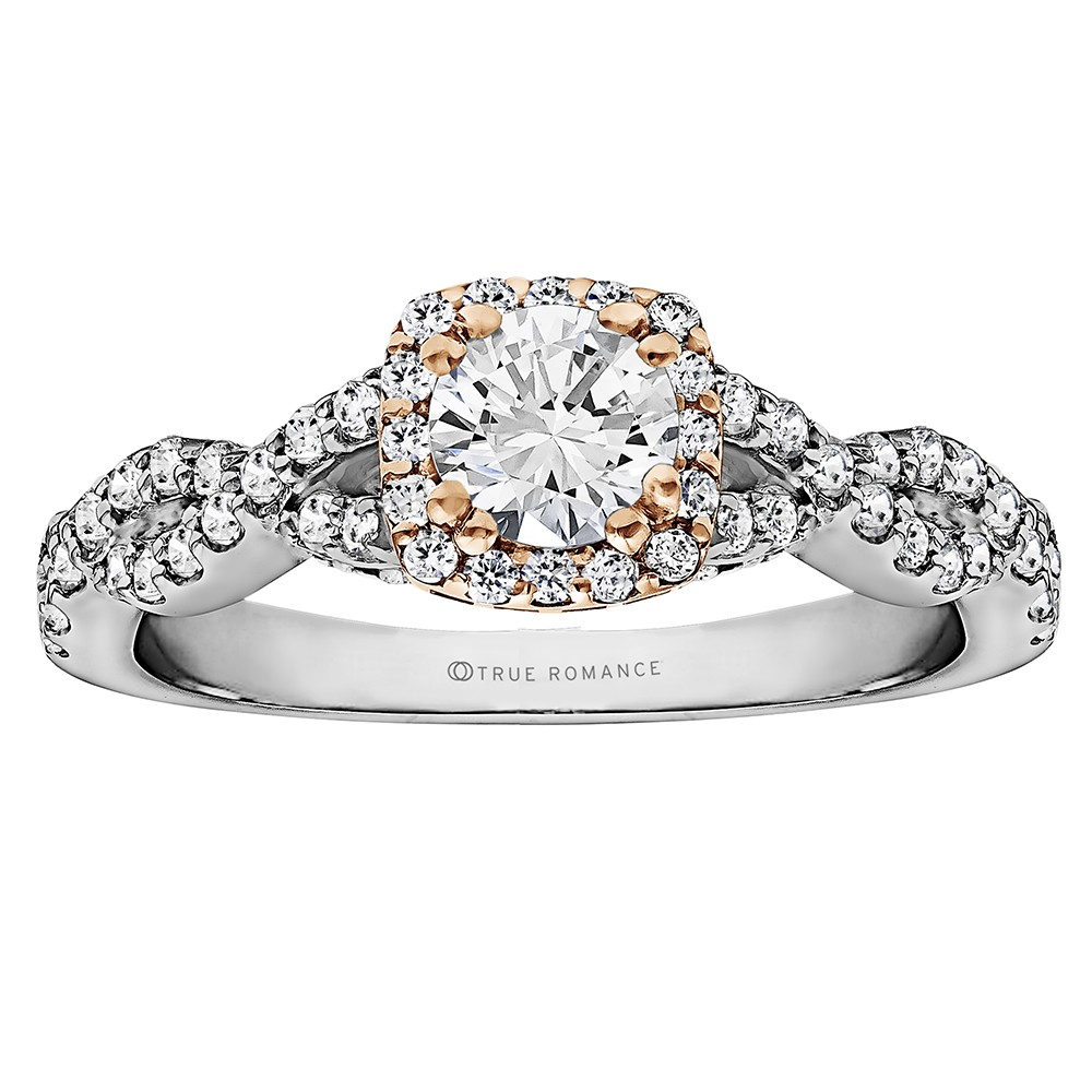 Round Cut Halo Diamond Infinity Semi Mount Engagement Ring
