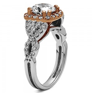 Round Diamond Infinity/Halo Semi Mount Engagement Ring