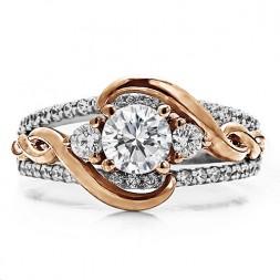 RM1546-14K White & Rose Gold Infinity Engagement Ring.
