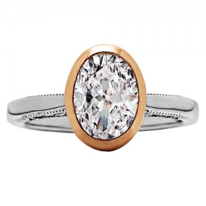 Oval Cut Diamond Bezel/Vintage Style Engagement Ring