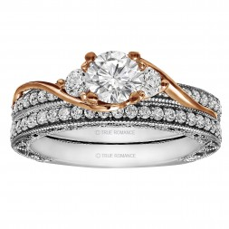 Round Cut Diamond Vintage Style Semi Mount Engagement Ring