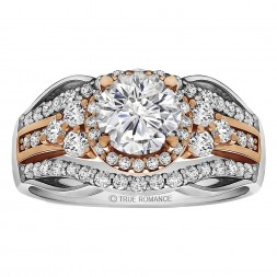 Round Cut Halo Diamond Vintage Semi Mount Engagement Ring