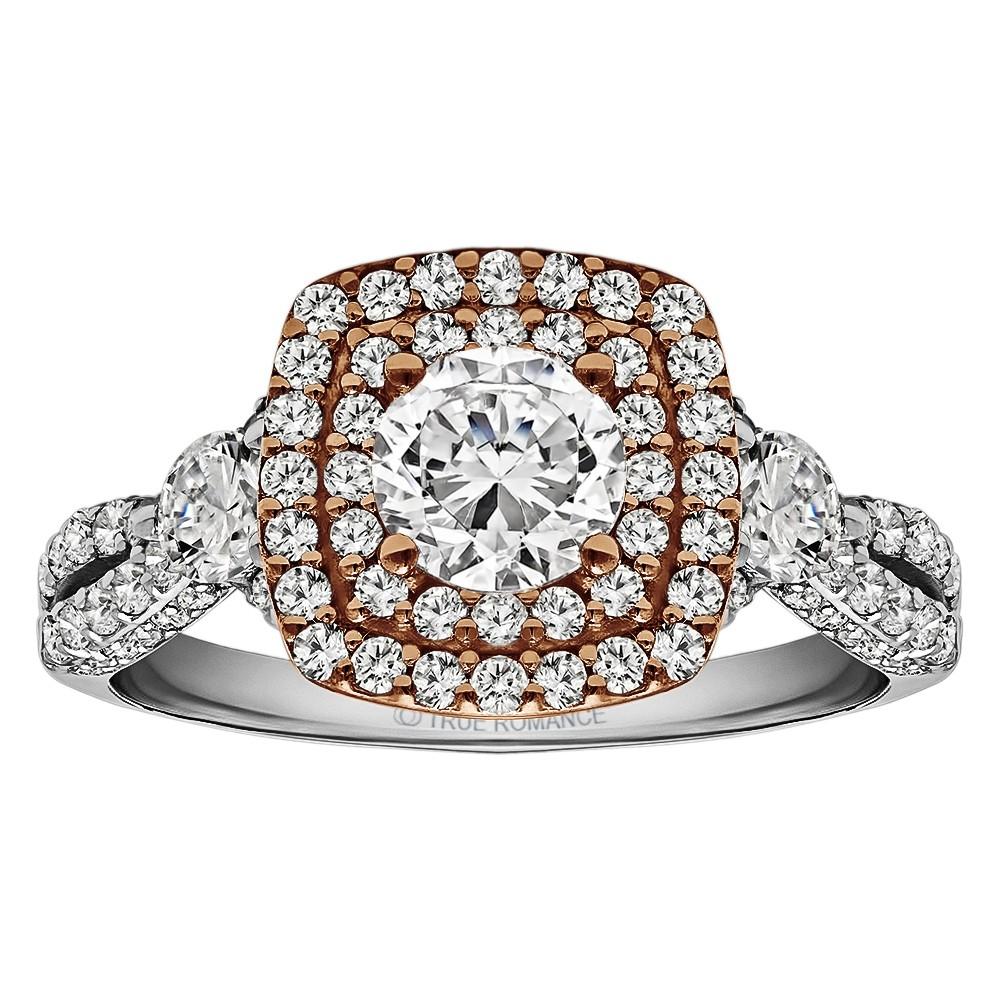 Round Cut Halo Diamond Vintage Semi Mount Engagement Ring