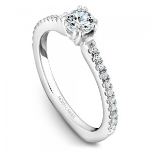A Carver Studio white gold engagement ring with 23 diamonds.