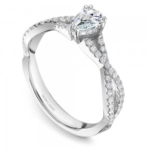 A Carver Studio white gold engagement ring with a twist band, a pear center stone and 57 diamonds.