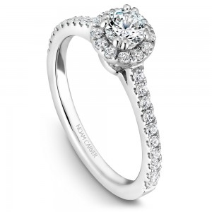 A Carver Studio white gold engagement ring with a halo.
