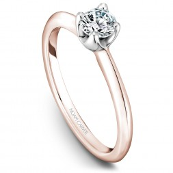 A floral Carver Studio rose and white gold engagement ring with a round center stone.