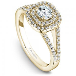 A Carver Studio yellow gold engagement ring with a double halo .