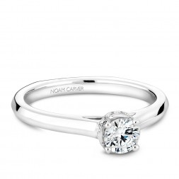 A solitaire Carver Studio white gold engagement ring with 15 diamonds.