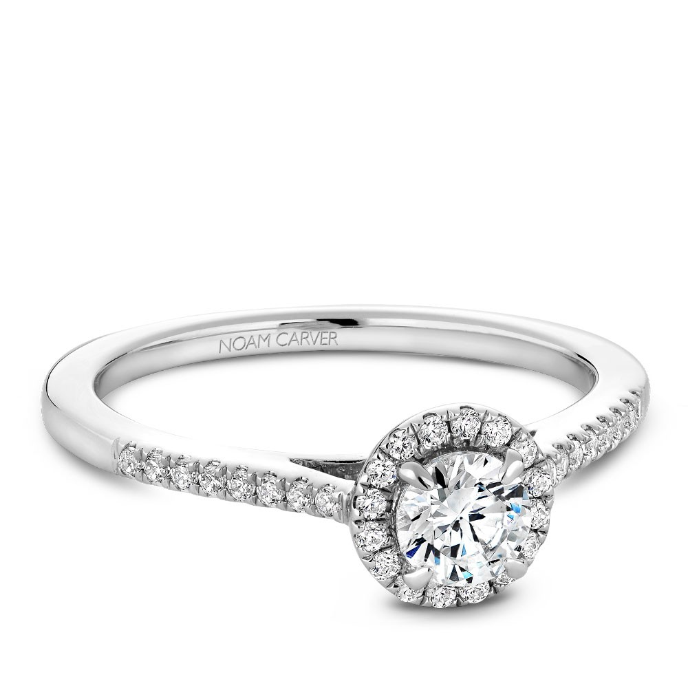 A Carver Studio white gold engagement ring with 33 diamonds.