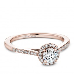 A Carver Studio rose gold engagement ring with 33 diamonds.