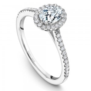 A Carver Studio white gold engagement ring with an oval halo and 41 diamonds.