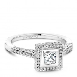 A modern Carver Studio white gold engagement ring with a square halo and 123 diamonds.