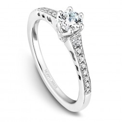 A modern Carver Studio white gold engagement ring with 23 diamonds.