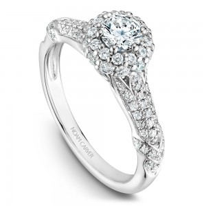 A modern Carver Studio white gold engagement ring with 87 diamonds.