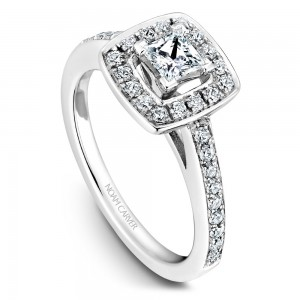 A Carver Studio white gold engagement ring with a square halo and 35 diamonds.