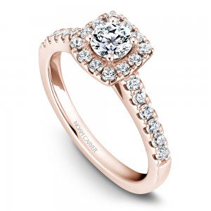 A Carver Studio rose gold engagement ring with a square halo and 25 diamonds.