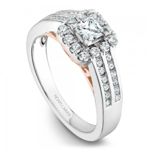 A modern Carver Studio white gold engagement ring with a square halo, 37 diamonds and rose gold accents.