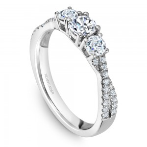 A Carver Studio white gold engagement ring with a twist band and 33 diamonds.