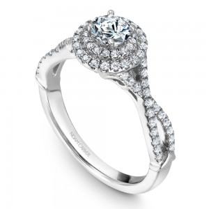 A Carver Studio white gold engagement ring with a twist band, a double halo and 77 diamonds.