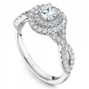 A Carver Studio white gold engagement ring with a twist band, double halo and 71 diamonds.