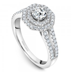 A modern Carver Studio white gold engagement ring with a double halo and 77 diamonds.