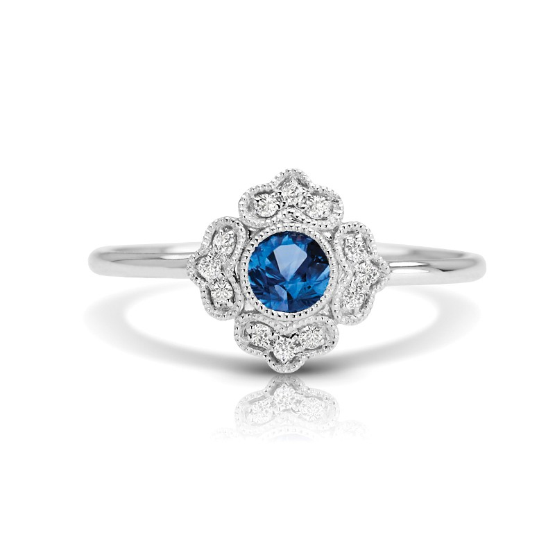 14K Sapphire and Diamond Fashion Ring