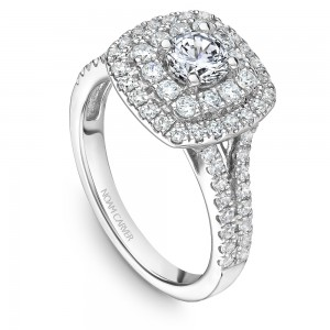 A modern Carver Studio white gold engagement ring with a double halo and 69 diamonds.