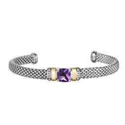 Silver And 18Kt Gold Popcorn Cuff Bracelet With Amethyst