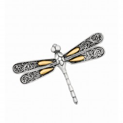 Silver And 18Kt Gold Oxidized Single Dragonfly Brooch/Pendant