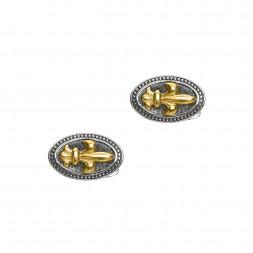 Silver And 18Kt Gold  Fleur De Lis Cufflinks