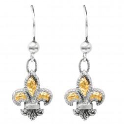Silver And 18Kt Gold Drop Fleur De Lis  Earrings