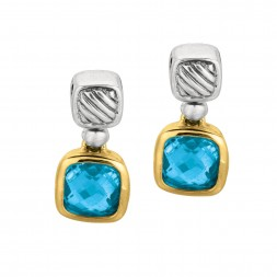 Silver And 18Kt Gold Italian Cable Earrings With Blue Topaz