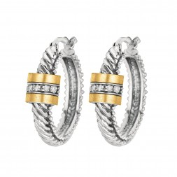 Silver And 18Kt Gold Rhodium Finish Italian Cable Hoop Earrings With Hinged Clasp And Diamonds