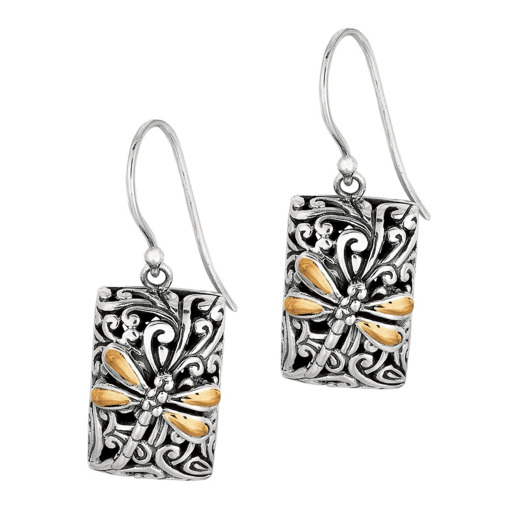 Silver And 18Kt Gold  35X13Mm Dragonfly Rectangular Drop Earrings
