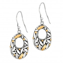 Silver And 18Kt Gold Bamboo Leave Oval  Earrings