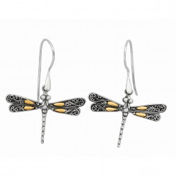 Silver And 18Kt Gold Oxidized Single Dragonfly Earrings