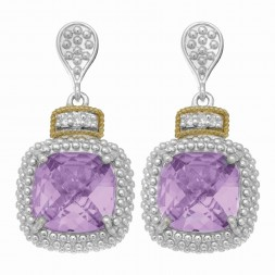 Silver And 18Kt Gold Textured Square Popcorn Drop Earrings With Push Back Clasp, Diamonds And  Amethyst