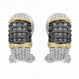 Silver And 18Kt Gold Textured Curve Popcorn Post Earrings With Omega Back Clasp And Black  Diamonds