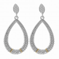 Silver And 18Kt Gold Textured Teardrop Popcorn  Earrings With Push Back Clasp And Diamonds